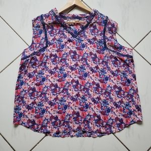 Sleeveless blouse shirt top floral plus size pink